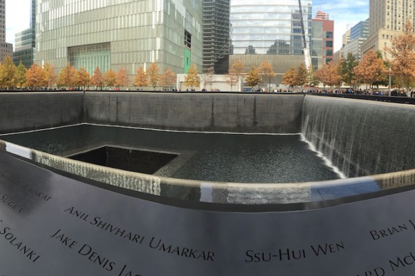 The 911 memorial in New York City features the names of those who died. (Photo by Davneet Dhillon)